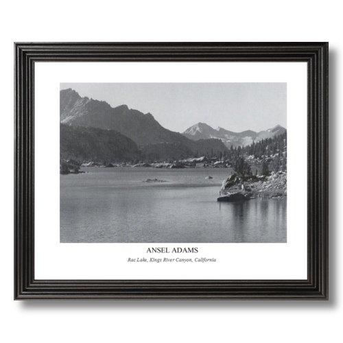 Print Lake Framed (Ansel Adams Rac Lake B/W Photo Landscape Picture Black Framed Art Print)