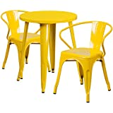 Flash Furniture 24'' Round Yellow Metal Indoor-Outdoor Table Set with 2 Arm Chairs