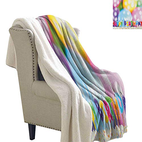 Suchashome Kids Birthday Sherpa Throws Celebration Colorful Candles on Party Cake with Abstract Blurry Backdrop Flannel Bed Blankets 60x32 Inch ()