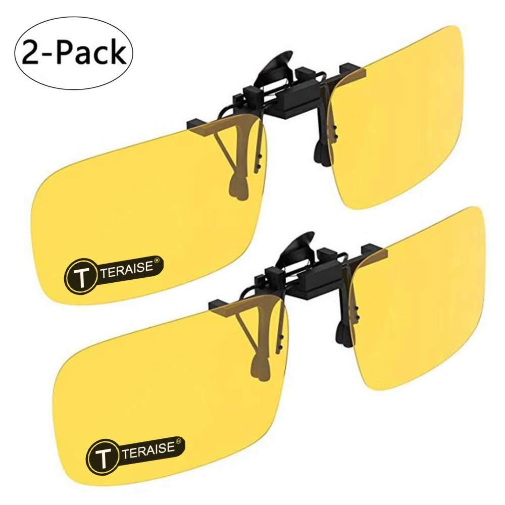 3cf52e15aa 2 Pares / Dí a TERAISE Gafas De Sol Con Clip T-HHJZ-11 Black+Yellow ...