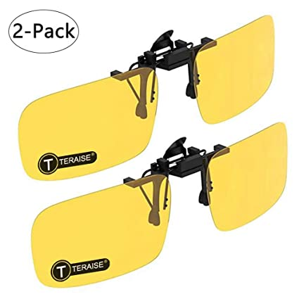 fb1af78b6c5 TERAISE 2-Pack Night Vision Clip on Polarised Sunglasses Men Women UV400  Flip-