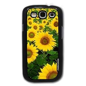 Sunflower Garden - Protective Designer BLACK Case - Fits Samsung Galaxy S3 SIII i9300