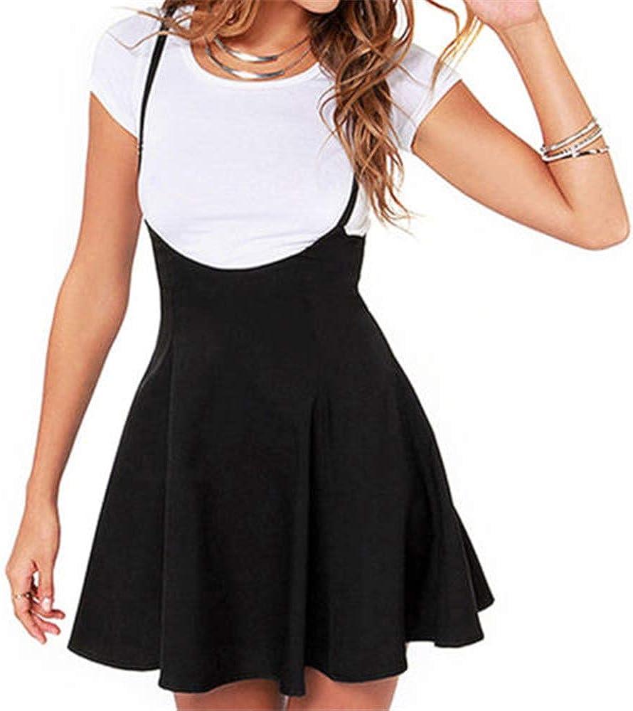 Women Girl Suspender Skirt Adjustable High Waist Skater Pleated Skirt Zipper Overall Dress Summer Clothing