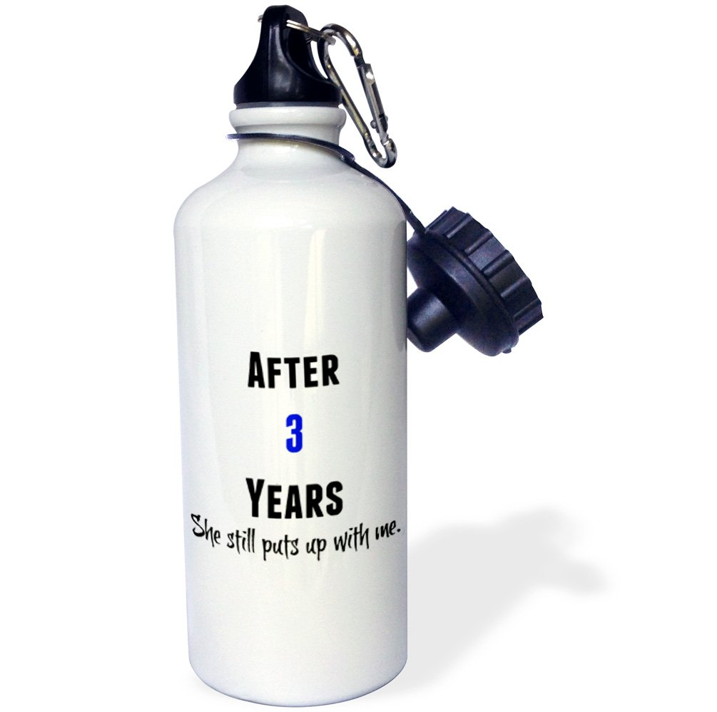 Black and Blue Letters-Sports Water Bottle 21oz wb/_213450/_1 3dRose 3 Years She Still Puts Up with Me Multicolored