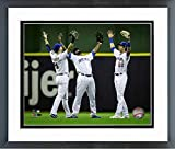 "Ryan Braun, Lorenzo Cain, Christian Yelich 2018 Milwaukee Brewers Action Photo (Size: 12.5"" x 15.5"") Framed"