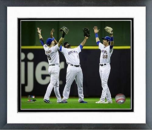 Ryan Braun, Lorenzo Cain, Christian Yelich 2018 Milwaukee Brewers Action Photo (Size: 12.5