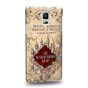 Case88 Premium Designs Harry Potter & Hogwarts Collections Marauder's Map Protective Snap-on Hard Back Case Cover for Samsung Galaxy Note 4