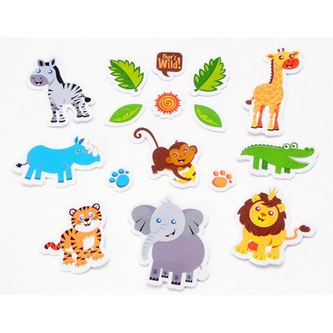 Darice 84 Safari Peel Off Foam Stickers~Elephant, Monkey, Tiger, Lion, Zebra, Giraffe
