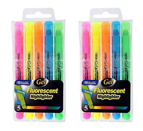 Highlighter Five Color Set Fluorescent - 2 Sets of 5 Gel Highlighters, Assorted Fluorescent Colors