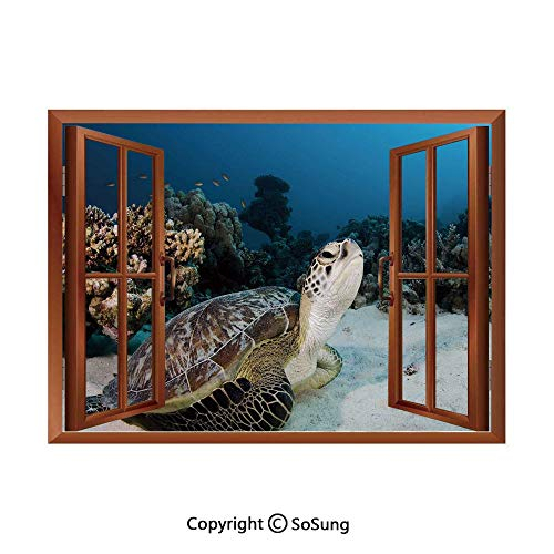 Turtle Removable Wall Sticker/Wall Mural,Underwater Sea Animal on Coral Reef in Red Sea Egypt Amphibian Exotic Nature Creative Open Window design Wall Decor,24
