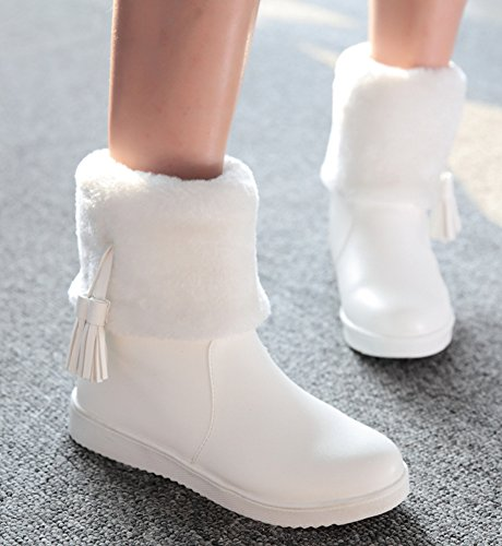 IDIFU Womens Warm Fringes Faux Fur Lined Winter Boots Thick Ankle High Snow Booties White Si3uANlssQ