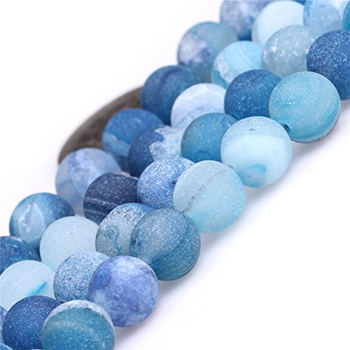 - Blue Druzy Drusy Metallic Coated Agate Beads for Jewelry Making Natural Gemstone Semi Precious 8mm Frosted Matte 15