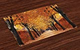 Ambesonne Autumn Place Mats Set of 4, Pathway in The Woods Covered with Dried Deciduous Tree Leaves Romantic Fall Season, Washable Fabric Placemats for Dining Room Kitchen Table Decor, Orange Brown