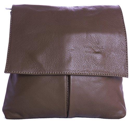 Big Handbag Shop - Bolso al hombro de cuero para hombre One Marrón Oscuro