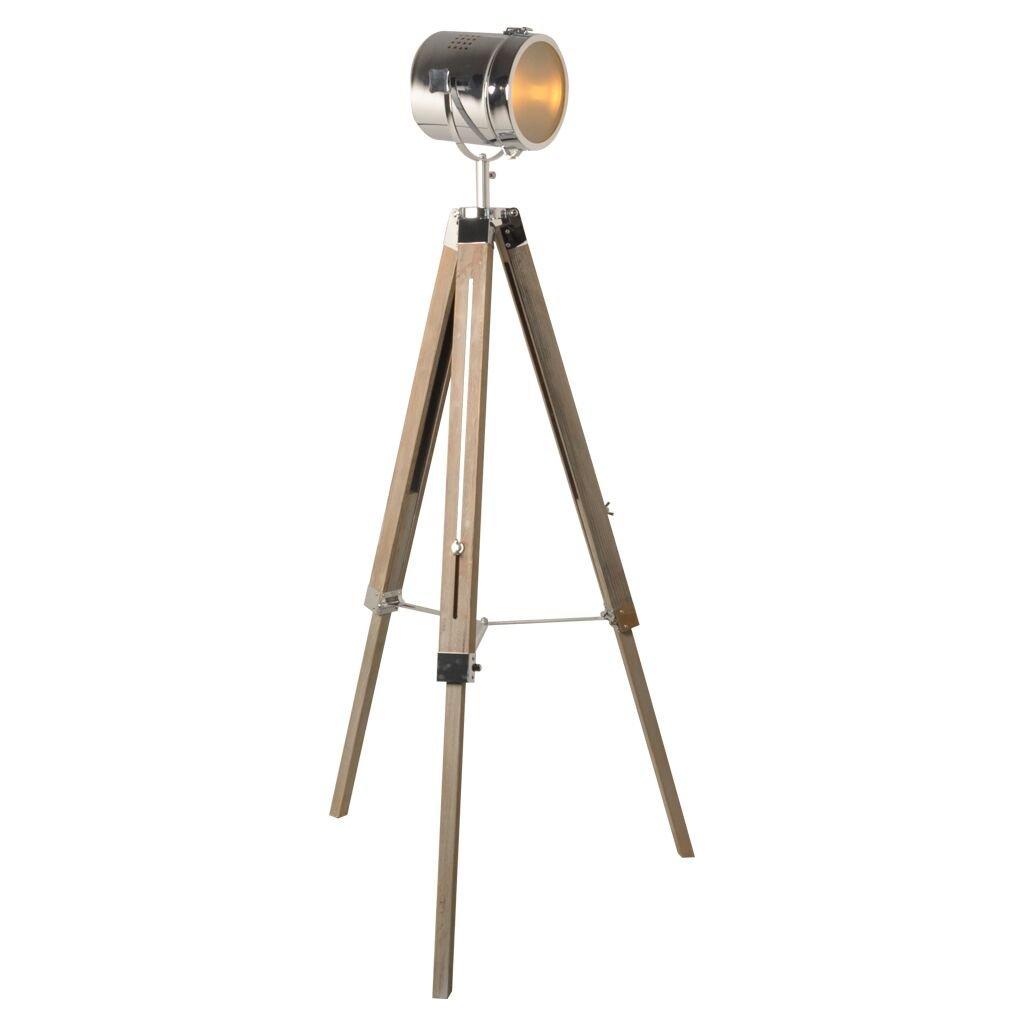 Decoluce - Spotlight Tripod Wooden Floor Lamp- Nautical Antique Searchlight Decor Cinema Studio Stand Vintage Home Floor Prop Light - Chrome color