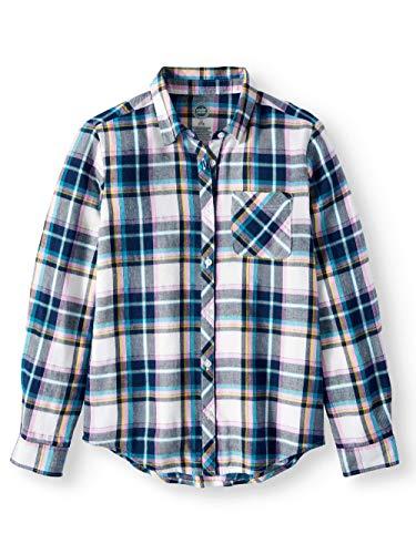 Girls Long Sleeve Button Down Plaid Flannel Shirt (Medium (7/8), Winter White) -