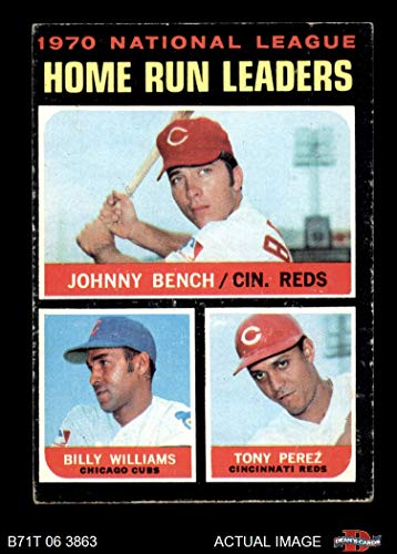 1971 Topps # 66 NL HR Leaders Johnny Bench/Tony Perez/Billy Williams Cincinnati/Chicago Reds/Cubs (Baseball Card) Dean's Cards 4 - VG/EX Reds/Cubs