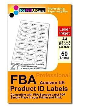 50 hojas A4 FBA Código de barras etiquetas. 1350 etiquetas. 27 por hoja autoadhesivo