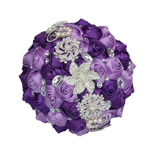 S_SSOY Customization Brooch Wedding Bouqeuet Bridal Bride Bridesmaid Holding Ribbon Rose Flowers Bouquets with Rhinestone Pearl for Valentine's Day Church Confession (Purple Lavender, Dia:15cm)