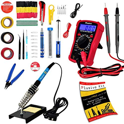 Soldering Iron Kit - Soldering Iron 60 W Adjustable Temperature, Digital Multimeter, Stand, Soldering Iron Tip Set, Desoldering Pump, Solder Wick, Tweezers, Rosin, Wire - [110 V, US Plug] from Plusivo