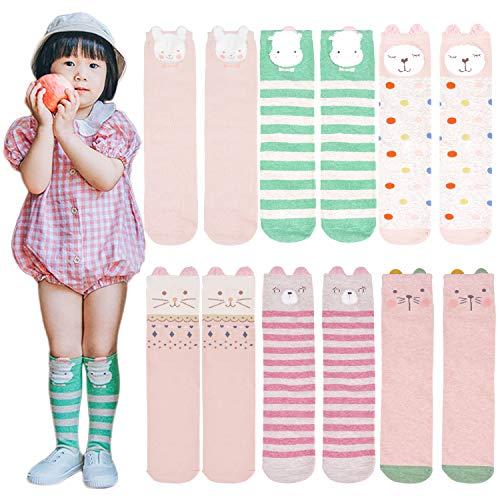 Kids Knee High Socks,Aniwon 6 Pairs Lovely Cartoon Warm Cotton Socks Over Calf Tube Socks for Children Boys Girls