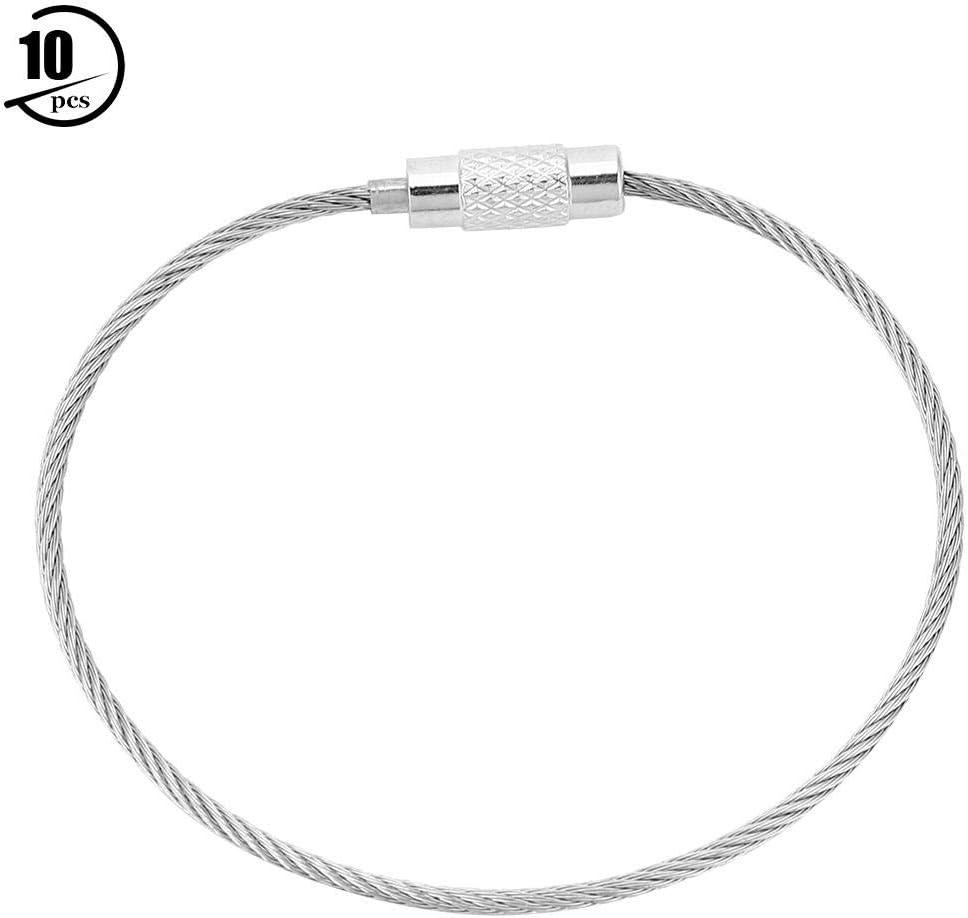 Fishlor Cadena de Acero, 10Pcs / Pack Cable de Alambre de Acero Inoxidable Herramienta para Colgar Llavero Cadena de Acero Cadena de Cadena Collar de joyería: Amazon.es: Deportes y aire libre