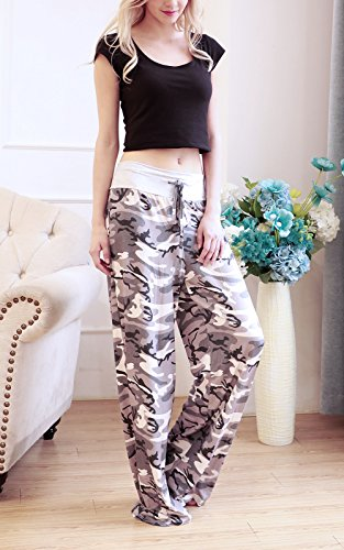 NEWCOSPLAY Women's Comfy Stretch Floral Print High Waist Drawstring Palazzo Wide Leg Pants (M, Camouflage) by NEWCOSPLAY (Image #5)