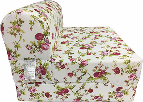 - D&D Futon Furniture Red Rose White Sleeper Chair Folding Foam Bed Sized 6