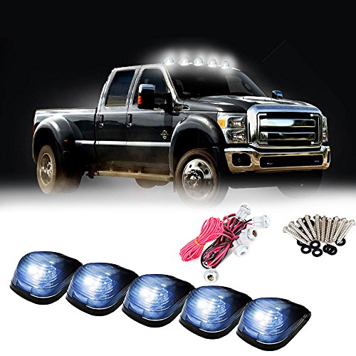 Carrep Smoked Cab Marker Top Roof Side Marker Light Lamps W/9 Super White LED Bulbs (5pcs Smoked Cab+ Wiring - Cab Grill