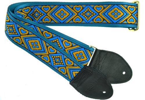 Souldier GS0857TQ05BK Custom USA Handmade Acoustic Guitar Strap - Turquoise Black