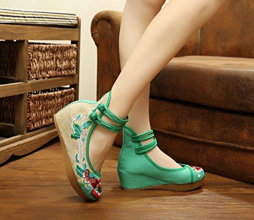 Casual Tissu Marche Fanwer Mode Les La Compenses De Pour Broderie Moyen Talon Femmes Mary Rond Hauteur Vert Bout Chaussures Toile Augmenter Jane q78vUqf