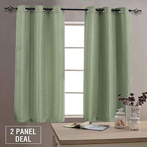 Green Curtains Plaid (Waffle Weave Curtains for Living Room Darkening Privacy Window Curtains for Bedroom 63 inch Length, Grommet Top, 2 Panels, Sage)