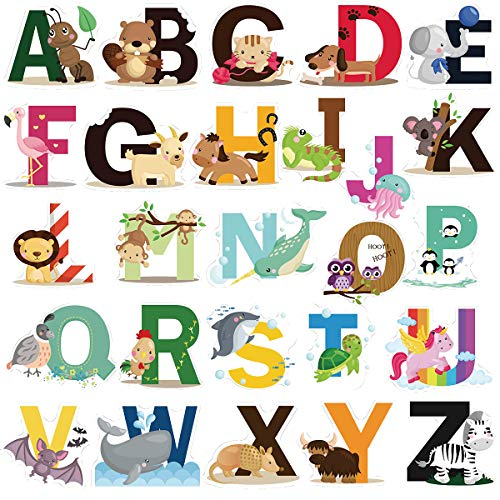 DEKOSH Educational Animal Alphabet Kids Wall Decals – Baby Nursery Decor Peel & Stick Decorative Baby Stickers for Playroom, Classroom Decoration