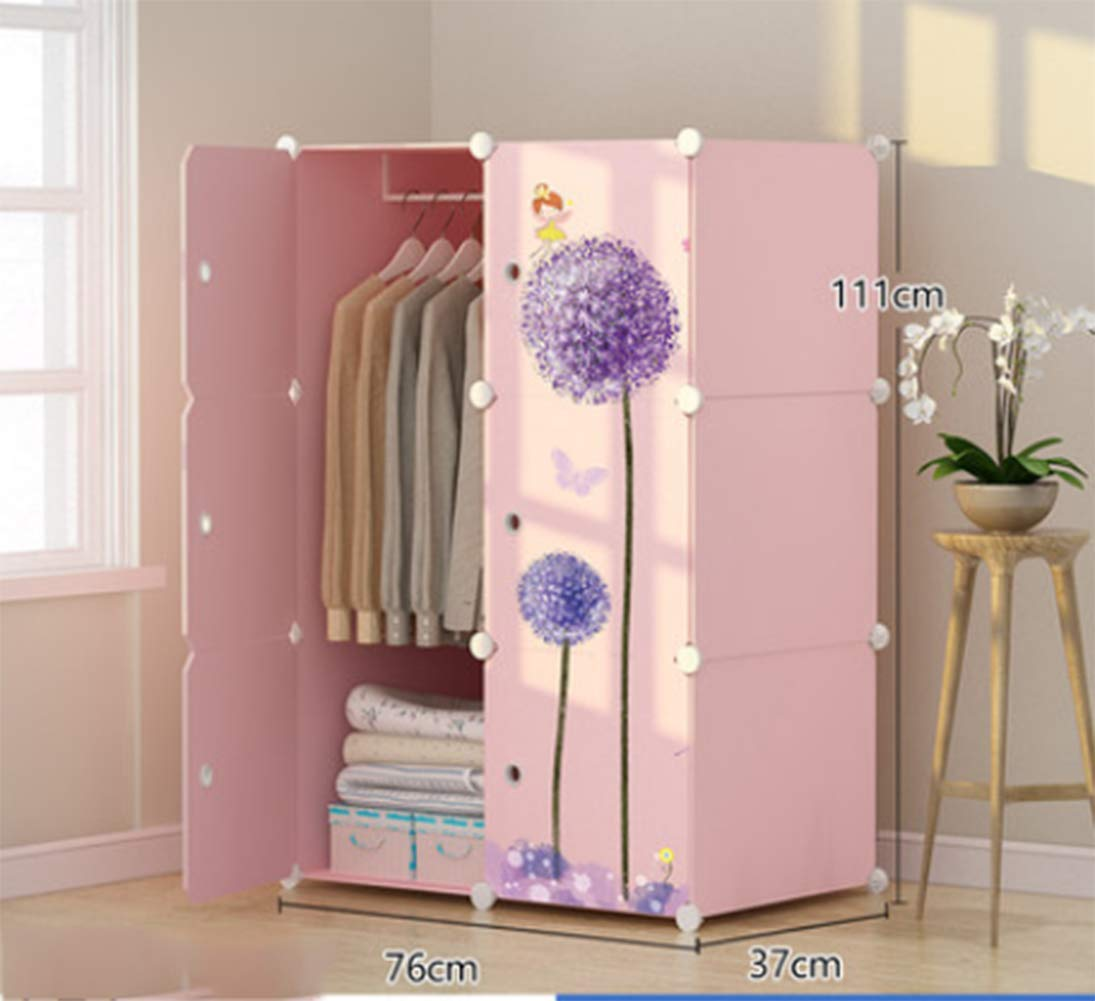 Portable Clothes Closet Wardrobe Bedroom Armoire Dresser Cube Storage Organizer,Space Saving,Ideal Storage Organizer,6Doors +3Grid + 1Hanging Sections