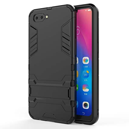 official photos eaff5 92241 Taslar Dual Layer Armor Defender Full Body Protective Back Case Cover for  Oppo A3s / Realme C1 (Black)