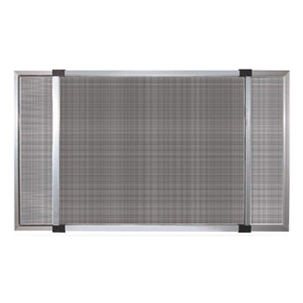 Moustiquaire extensible avec châssis en aluminium, avec brosse aux bords. adaptée pour l'installation sur fenêtres et portes fenêtres avec volet roulant. Trame fine en fibre de verre. Application facile et instantanée en tan