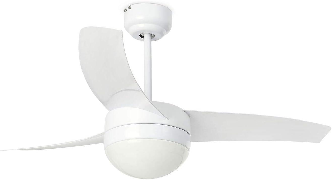 Faro Barcelona 33415 - EASY Ventilador de techo con luz, 15W, acero, palas de abs y difusor de cristal opal, color blanco: Amazon.es: Iluminación