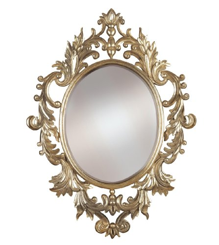 European Gold Leaf (Antique European Styled Oval Beveled Wall Mirror with Gold Leaf Finish and Silver Highlights)