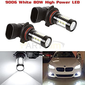 Partsam Cost-effective Pack2 9006 HB4 80W White 6000K Fog Light Driving Lamp made by High Power Epistar LED w//in-bulit IC Control and Black Auminum Alloy