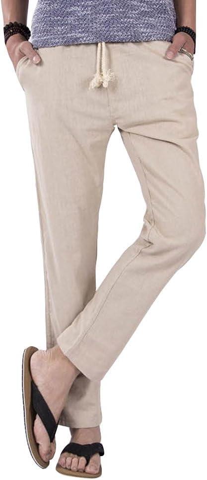 Pantalones para Hombres Cintura Elástica Algodón Ancho Pantalones Rectos Jogging Cómodo Chino Pantalón Beige M: Amazon.es: Deportes y aire libre