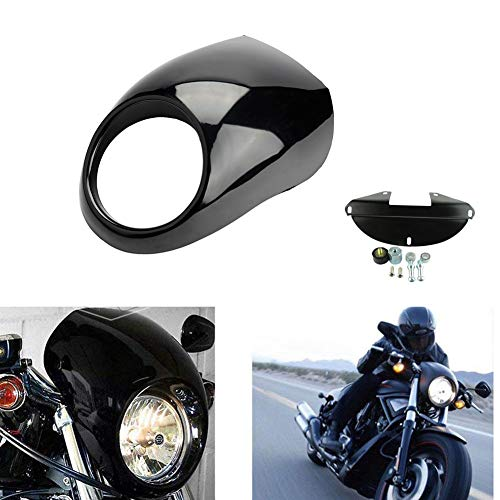 Motorcycle Headlight Fairing Mask Front Fork Cowl Visor Bracket Set For Harley Sportster XL883 1200 Dyna Glide FX/XL 1984-2014 1991 Harley-Davidson Low Rider FXRS (Golss Black)