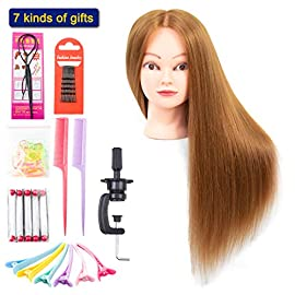 Mannequin Head with Human Hair for 60% Training Head Straight Cosmetology Styling Model 26 Inches