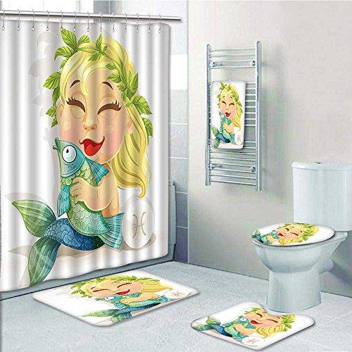 best Designer Bath Polyester 5-Piece Bathroom Set,Baby Pisces Symbol Hing Nemo Horoscope Venus Boho Print bathroom rugs shower curtain/rings and Both Towels(Medium size)