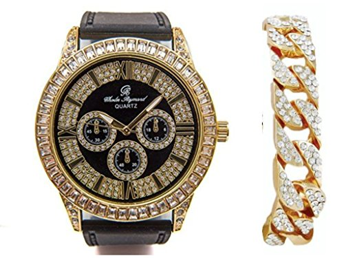 Diamond Black Dial Gold (Charles Raymond Richest Rappers Timepiece. Smooth Black Rubber Band with Lavish Baquette Diamond Trim Case and Black Gold Glitter Dial with Iced Gold Cuban Bracelet Set - 8705RB Black Gold Cuban)