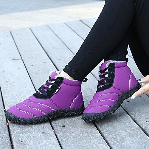 Donna Pelliccia Viola Stivali Neve All'aperto Scarpe Antiscivolo Invernali SAGUARO Caviglia Caldo Piatto Stivaletti Boots Uomo Stringate EFq1xnzZw
