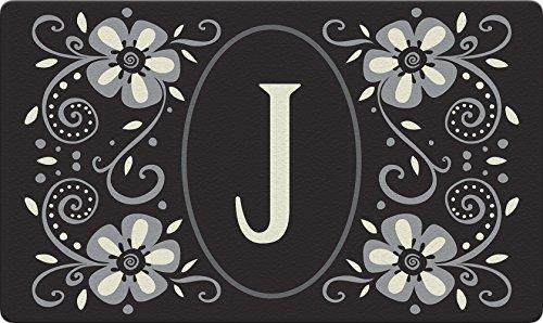 Toland Home Garden Classic Monogram J 18 x 30 Inch Decorative Floor Mat Flower Design Pattern Doormat