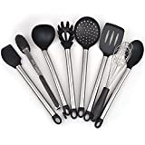 Super Solid 8 Pieces Cooking Utensils Set With Non Stick Silicone Tips and Stainless Still For Pots and Pans - Serving Tongs, Spoon, Spatula Tools, Slotted Turner, Pasta Server, Ladle, Strainer, Whisk