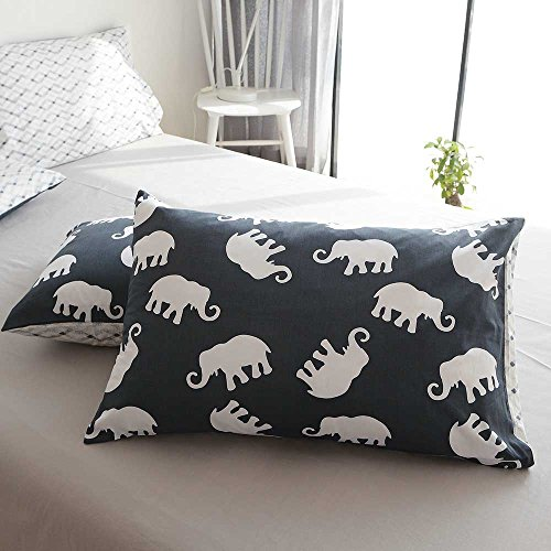 AMZTOP Elephant Print Kids Duvet Cover Twin XL Cotton Navy/Grey,Reversible Animal Geometric Grid 3 Pieces Dormitory Bedding Cover Sets Twin Boys Girls Zipper Closure, NO COMFORTER by AMZTOP (Image #7)