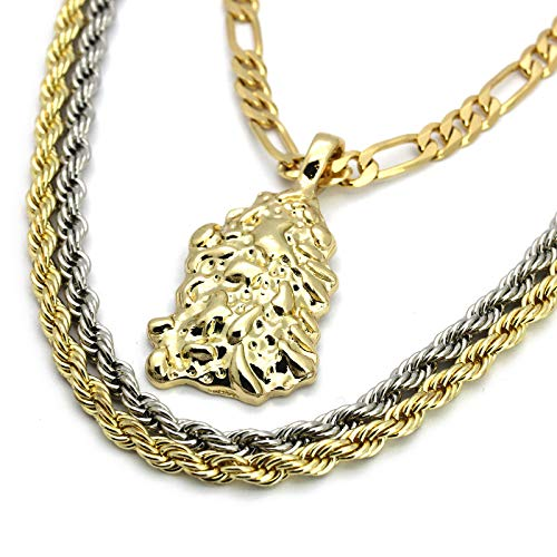 - L & L Nation Mens 14k Gold Plated Nugget Pendant Hip Hop 18