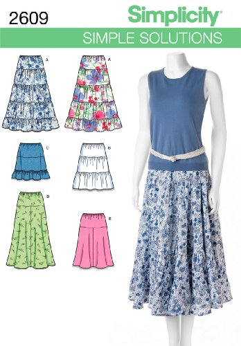 Simplicity Simple Solutions Pattern 2609 Misses Pull-on Skirts with Length Variations Size 8-10-12-46-16
